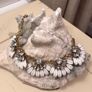 J. Crew White and brass crystal bib necklace